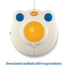 An oversized trackball with large buttons