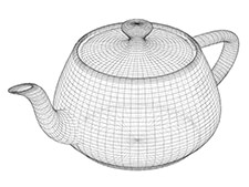 Wireframe model of a teapot